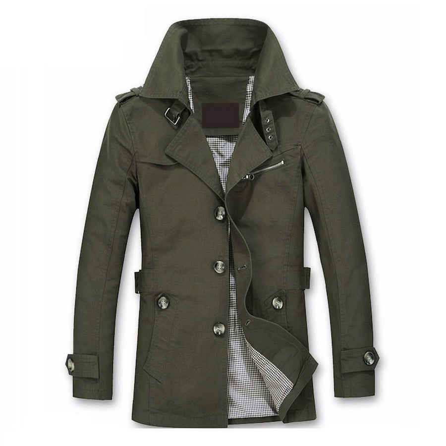 Men's Solid Trench Coat