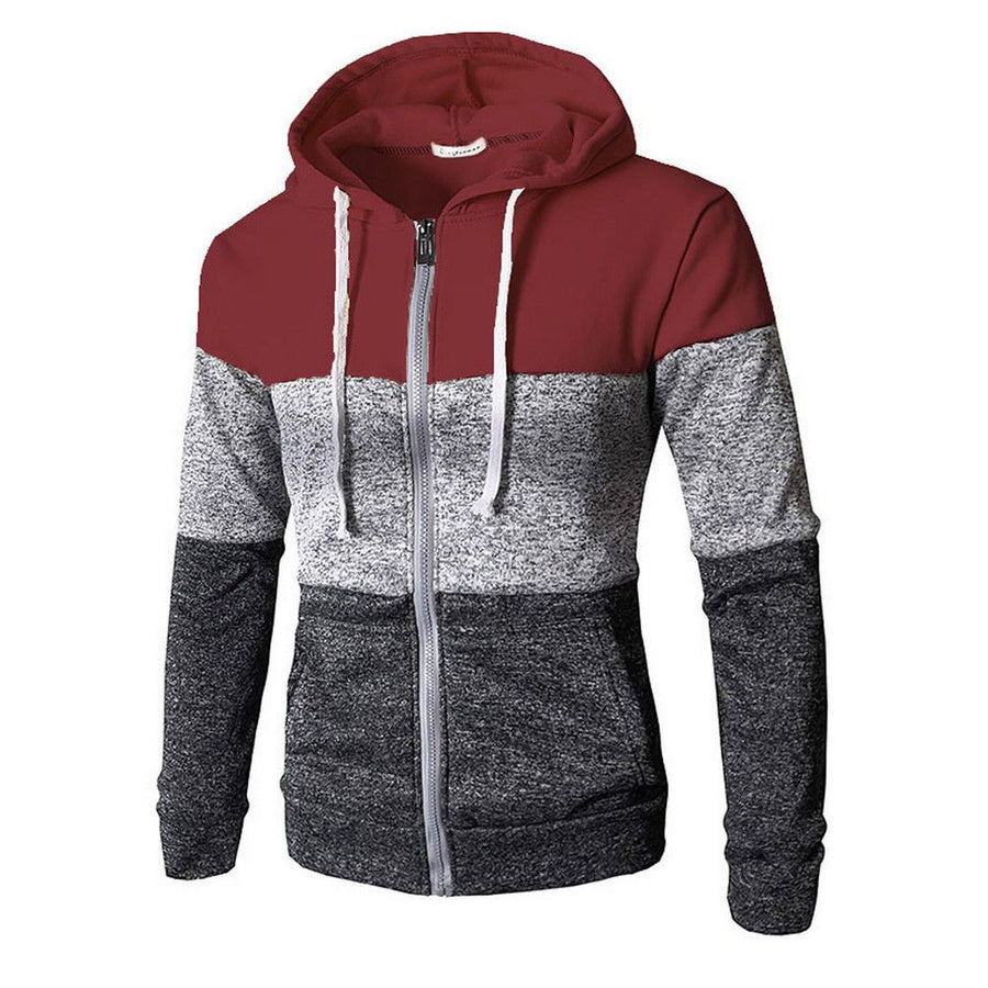 Men's Colorblock Zip-Up Hooded Sweatshirt