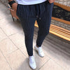 Men's Striped Mid-Waist Drawstring Pants