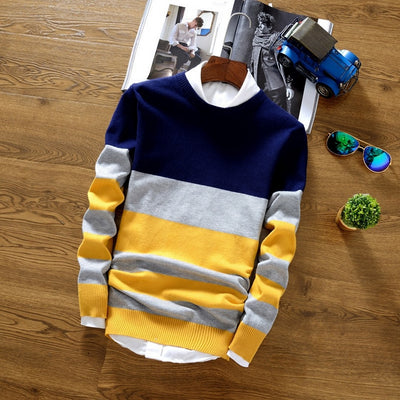 Men's Striped-Colorblock Long-Sleeve Sweater
