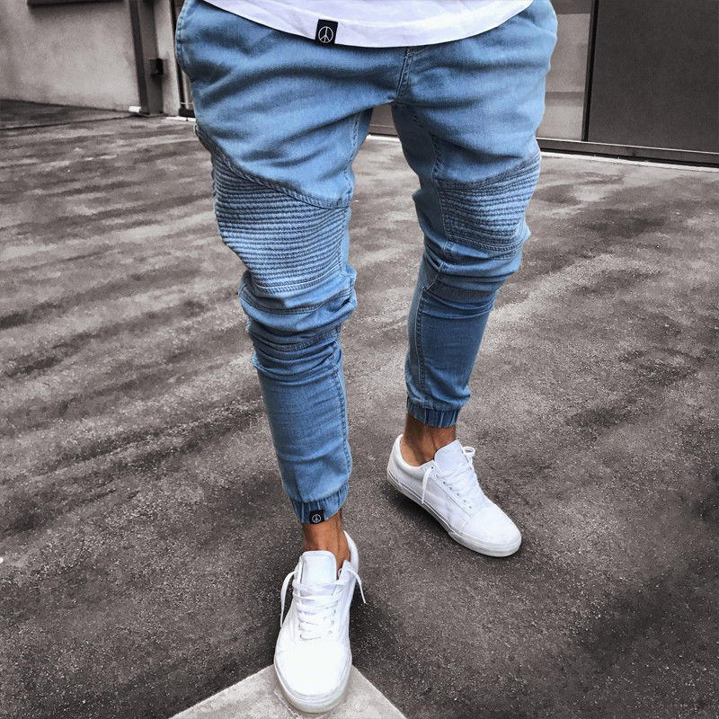 Men's Textured Mid-Waist Jeans