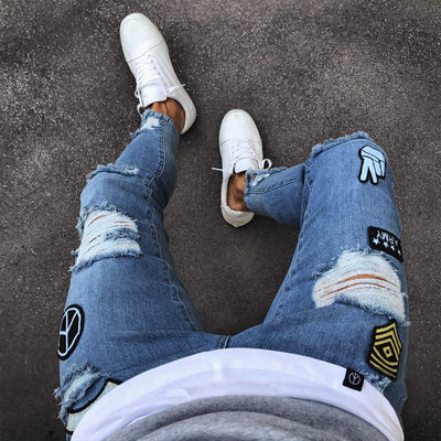 Men's Patched-Ripped Mid-Waist Jeans