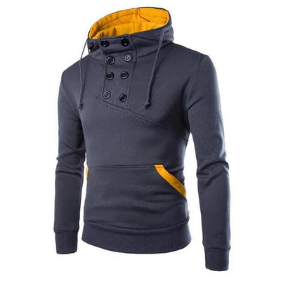 Men's Button-Front Long-Sleeve Hoodie