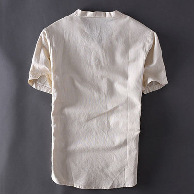 Men's Solid Half-Button Short-Sleeve T-Shirt
