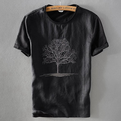Men's Linen Embroidery Short-Sleeve T-shirt