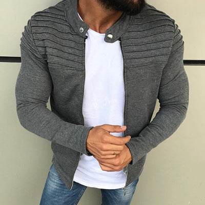 Men's Textured Long-Sleeve Zip-Up Jacket