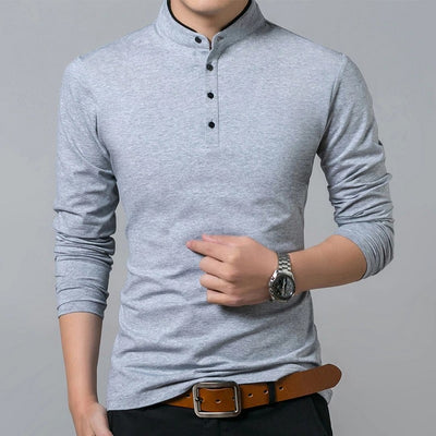 Men's Casual Half-Button Long-Sleeve Shirt