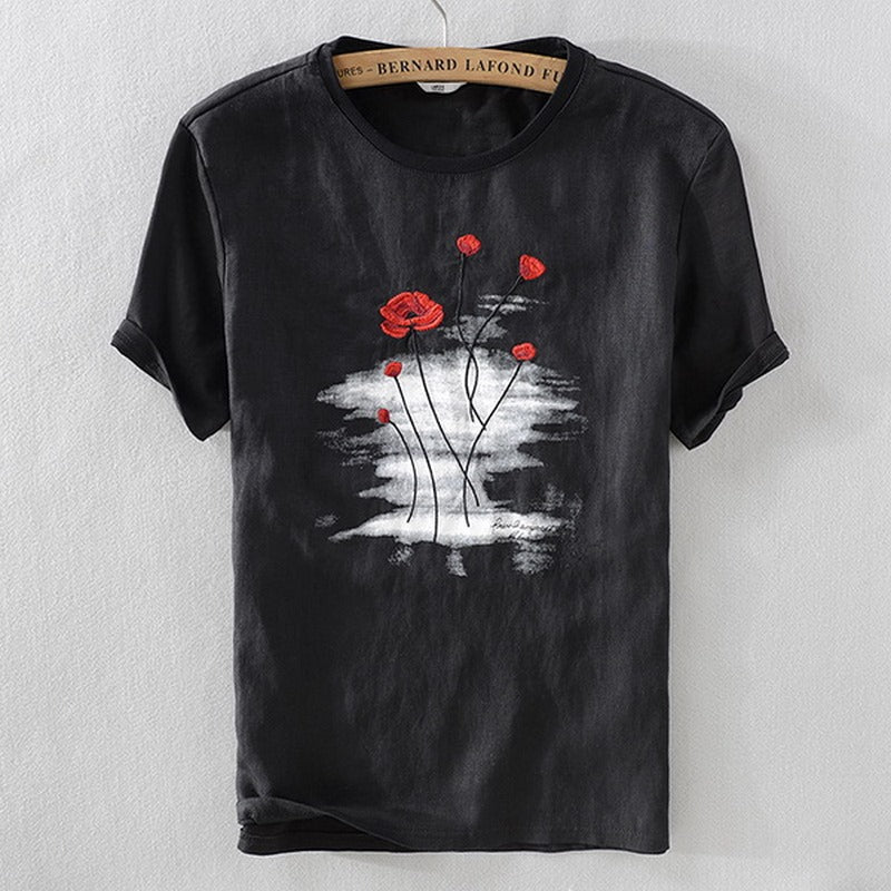 Men's Embroidery Fashion Short-Sleeve T-shirt