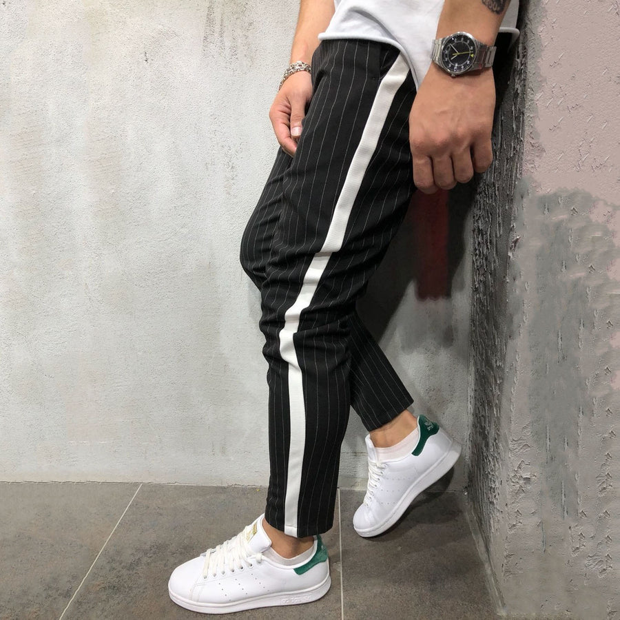 Men's Striped Mid-Waist Jogger Pants