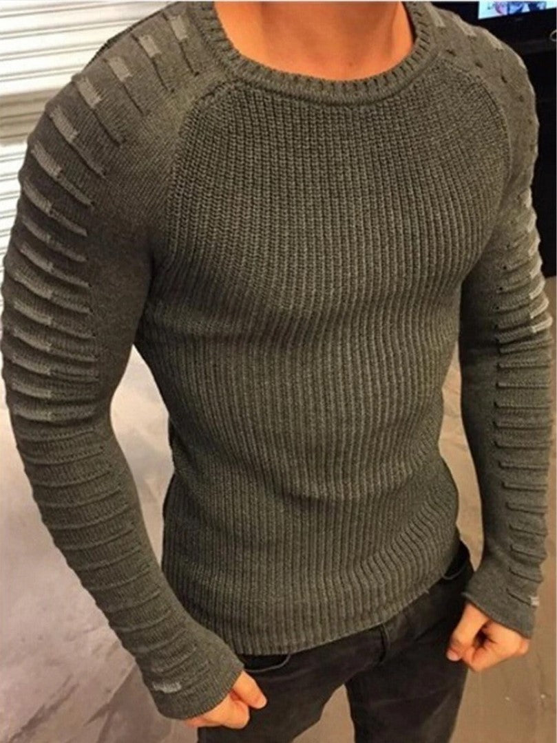 Men's Textured Long-Sleeve Sweater
