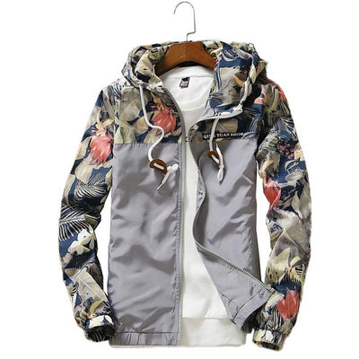 Men's Floral Print Zip-Up Hooded Jacket