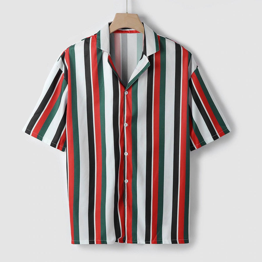 Men's Striped Short-Sleeve Button-Down Shirt