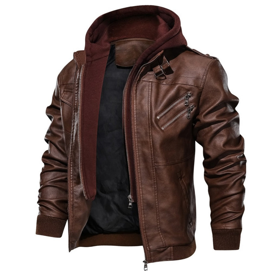 Men's Hooded Leather Jacket
