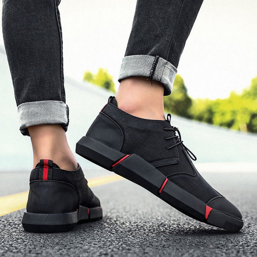 Men's Lace-Up Leather Sneakers