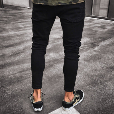 Men's Stretchy Ripped Mid-Waist Jeans