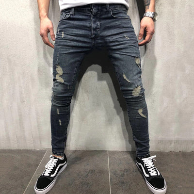 Men's Casual Ripped Mid-Waist Jeans