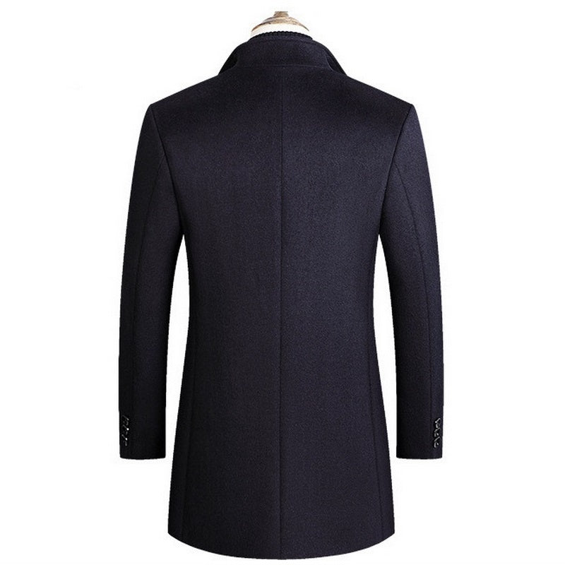 Men's Solid Long Coat