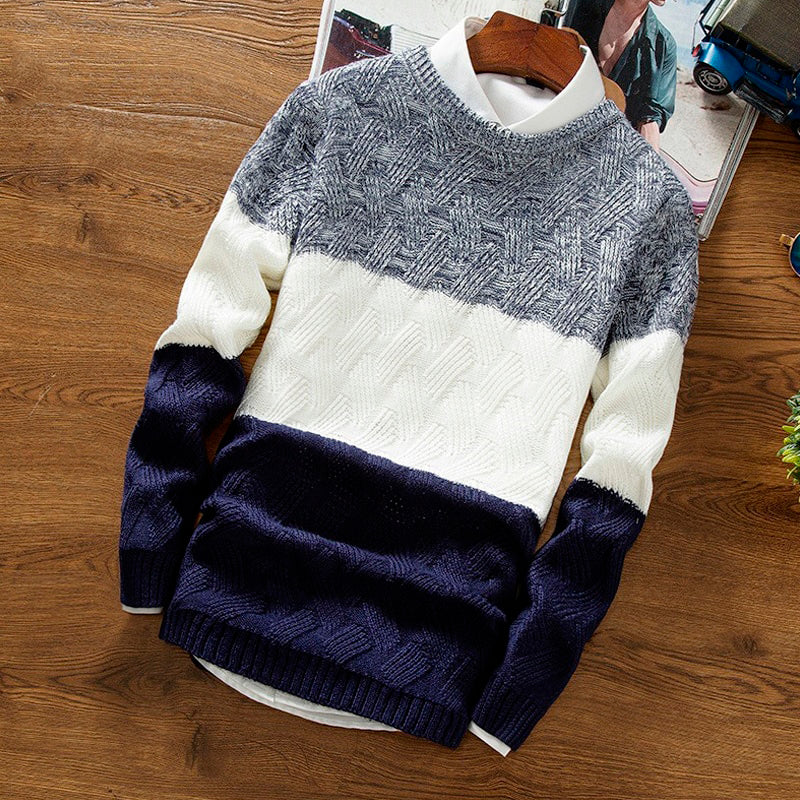Men's Coloblock Long-Sleeve Knitted Sweater