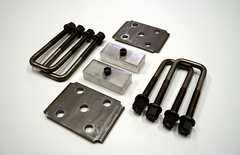 "Trailer Blocks 2500lb to 3500lb marine axle kit with tie plates and 1"" blocks for 1-3/4"" wide spring"