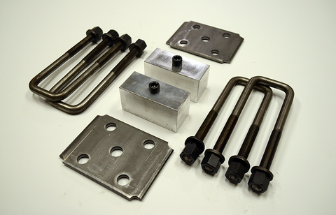 "Trailer Blocks 2500lb to 3500lb marine axle kit with tie plates and 2"" blocks for 1-3/4"" wide spring"