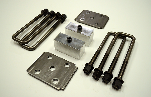 "Trailer Blocks 5200lb marine axle kit with tie plates and 2"" blocks for 1-3/4"" wide spring"