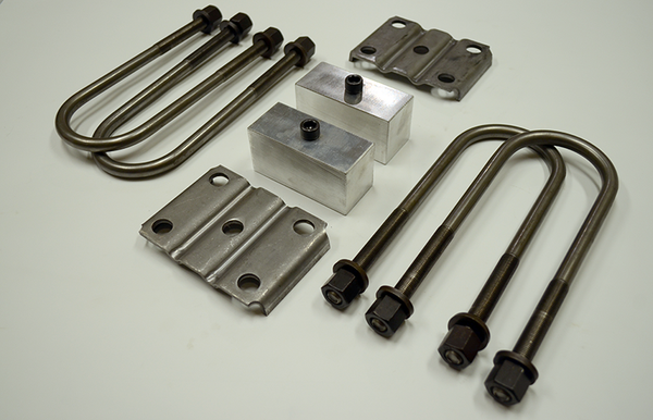 "Trailer Blocks 4000lb to 7000lb axle kit with tie plates and 2"" blocks for 1-3/4"" wide spring"