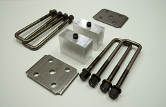 "Trailer Blocks 2500lb to 3500lb marine axle kit with tie plates and 3"" blocks for 1-3/4"" wide spring"
