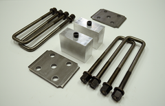 "Trailer Blocks 5200lb marine axle kit with tie plates and 3"" blocks for 1-3/4"" wide spring"