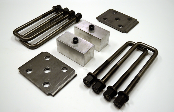 "Trailer Blocks 5200lb marine axle kit with tie plates and 2"" blocks for 2"" wide spring"
