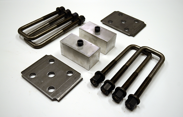 "Trailer Blocks 2500lb to 3500lb marine axle kit with tie plates and 2"" blocks for 2"" wide spring"