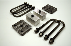 "Trailer Blocks 3500lb axle kit with tie plates and 2"" blocks for 2"" wide spring"