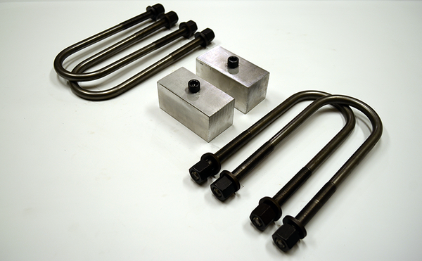 "Trailer Blocks 4000lb to 7000lb axle kit with 2"" blocks for 2"" wide spring"