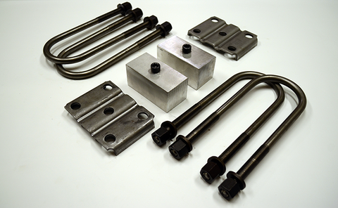 "Trailer Blocks 4000lb to 7000lb axle kit with tie plates and 2"" blocks for 2"" wide spring"