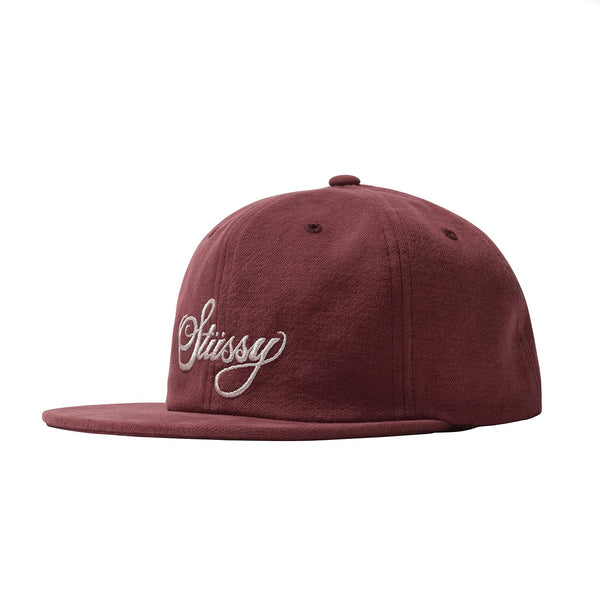 Stussy Peached Canvas 6 Panel Cap - Burgundy | Underground Skate Shop