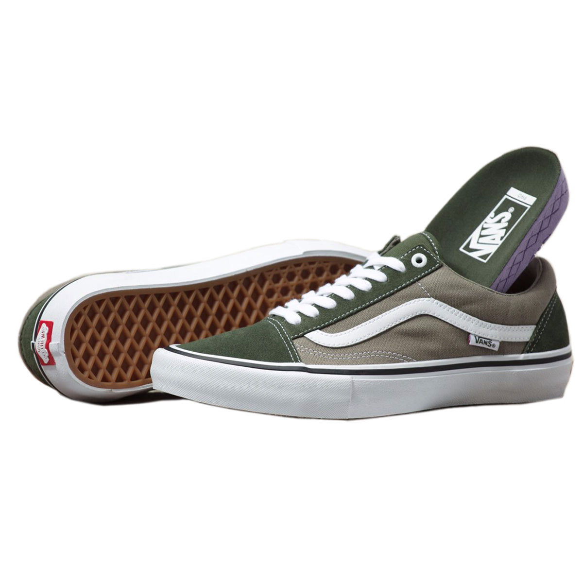 Vans Old Skool Pro - Forest/White | Underground Skate Shop
