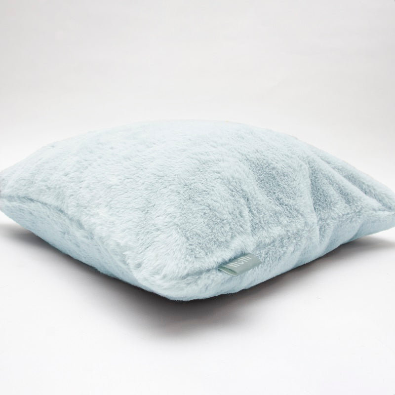 Super soft faux fur cushion blue