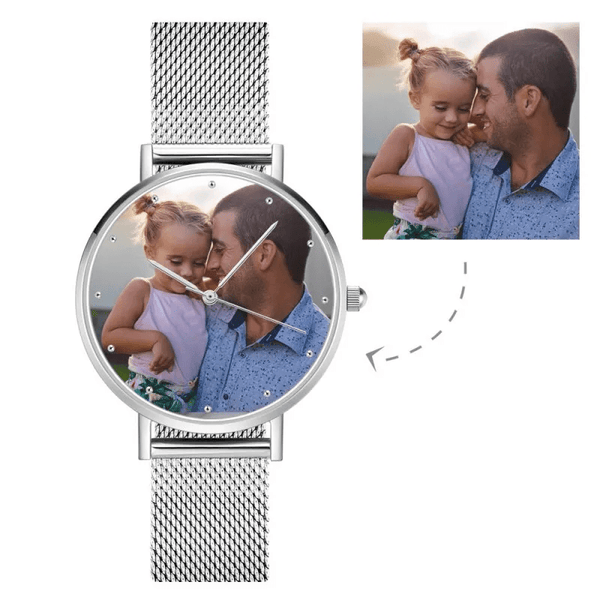 Father's Day Gifts - Engraved Men's Alloy Bracelet Photo Watch 40mm