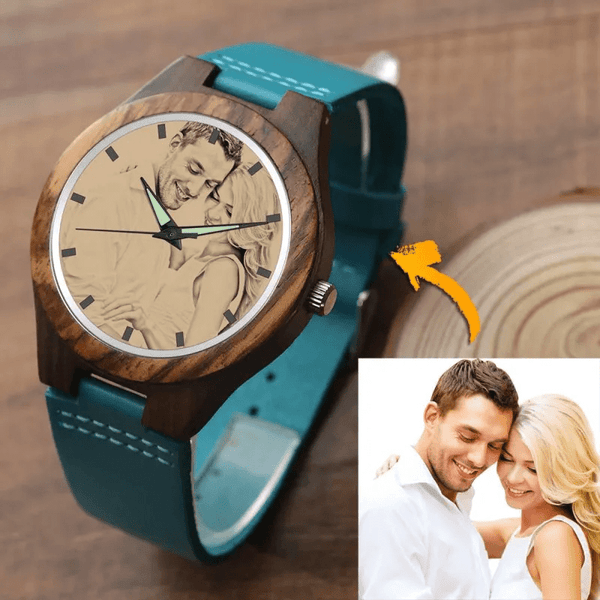 Women's Photo Watch I Love You Forever Blue Leather Strap - Sandalwood