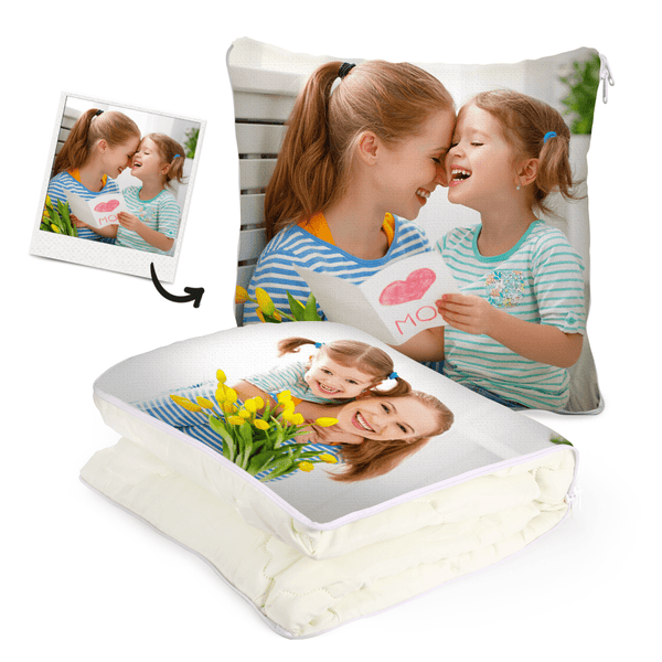 Custom Family Photo Quillow - Multifunctional Throw Pillow and Quilt 2 in 1 - 47.25x55.10