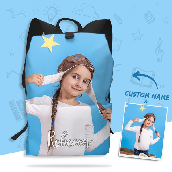 Custom Photo Backpack with Text Full-frame Printed Schoolbag