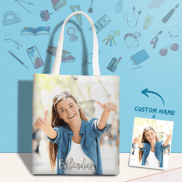 Custom Canvas Tote Bag with Text & Photo Personalized Gift For Best Friend