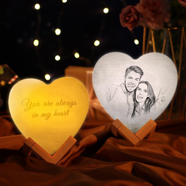 Personalized Night Light Custom 3D Printed Photo Heart Lamp  - Remote Control 16 Colors (13-15cm)