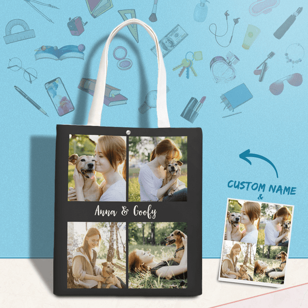 Custom Canvas Bag Photo Collage Tote Bag Gift For Pet Lovers
