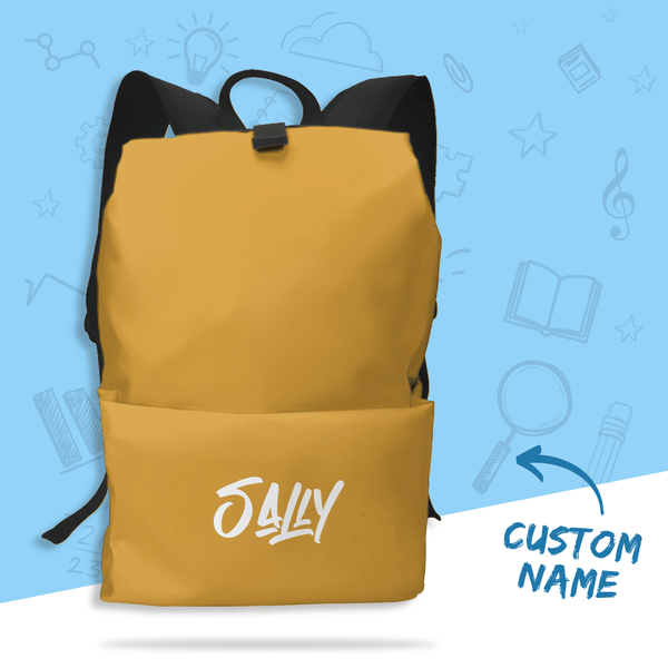Custom Backpack Gift School Bag Gift with Name - Yellow