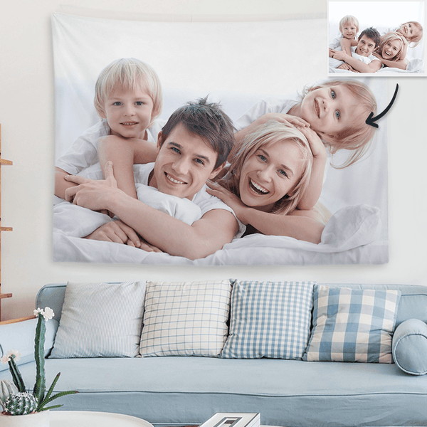 Custom Photo Tapestry Love Family Short Plush Wall Decor Hanging Painting