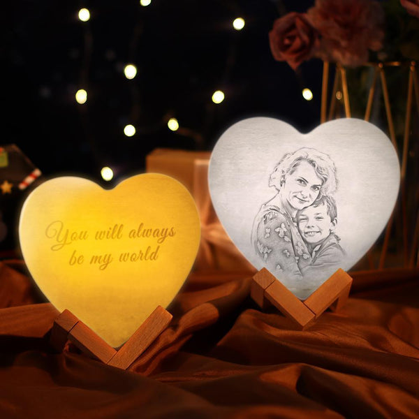3D Personalized Night Light Custom Printed Photo Heart Lamp Gift For Mom - Touch Three Colors (13-15cm)