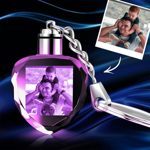 Custom Crystal Heart Photo Keychain - For Dad