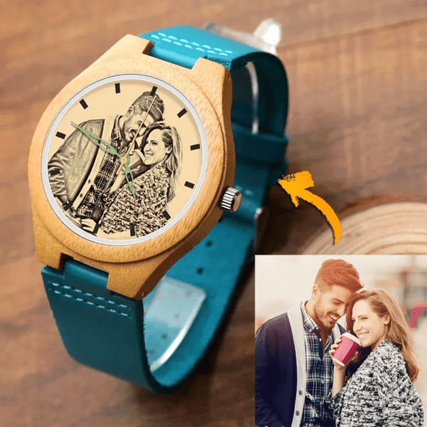 Men's Wooden Photo Watch Best Couple Blue Leather Strap - Bamboo