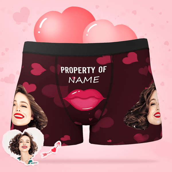 Sexy Gift For Boyfriend Custom Boxer Shorts - Red Lips