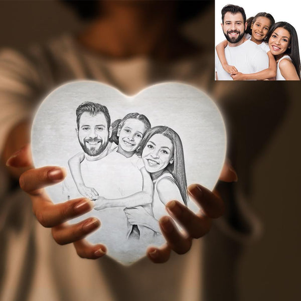 Custom 3D Printed Photo Heart Lamp Personalized Night Light Gift For Family - Remote Control 16 Colors (13-15cm)